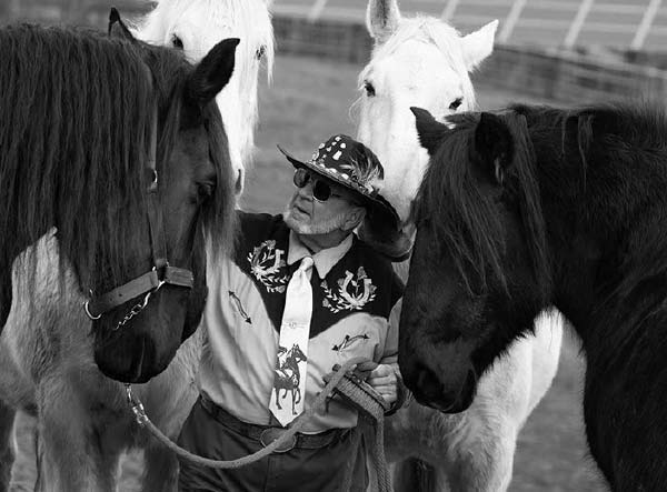 A man stands between four horses and looks at the horse on the left. He has a beard and is wearing sunglasses, a cowboy hat with a feather in it, a flowered vest, a long-sleeved shirt and a tie with horses on it. The two horses on the right and left have forelocks hanging in their eyes. The heads of two white horses are behind him.